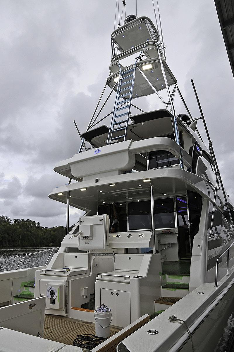 Custom, and magnificent tuna tower on board this Sport Motor Yacht 72 thanks mounts to the superstructure because of it's strength, not the deck. - photo © © John Curnow