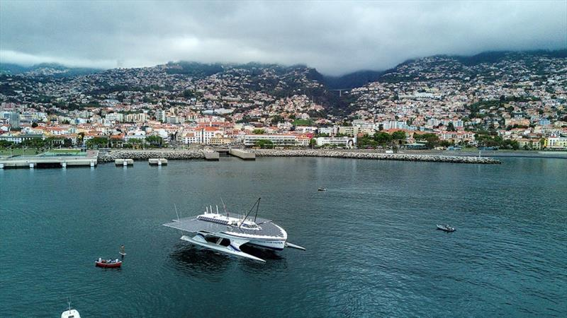 Race For Water Odyssey vessel leaving Funchal, Madeira Island photo copyright Race For Water taken at  and featuring the Cruising Yacht class