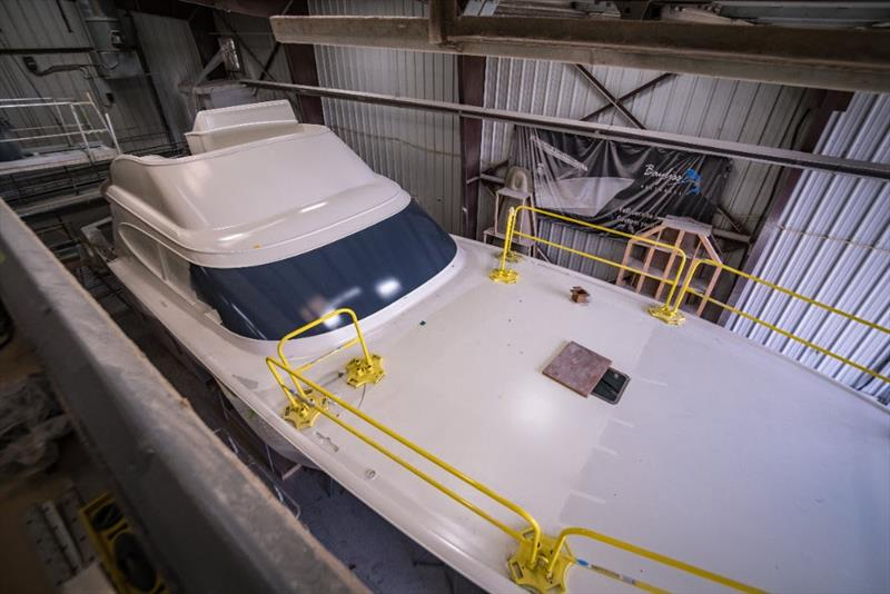 GameChanger with her final coat of primer and new black windshield - photo © Bayliss Boatworks