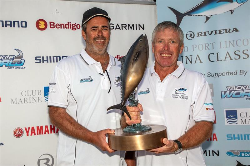Riviera Port Lincoln Tuna Classic Calcutta winner Craig Kelsh (left) with overall winner Ian Montgomery at the trophy presentation ceremony - photo © Riviera Studio