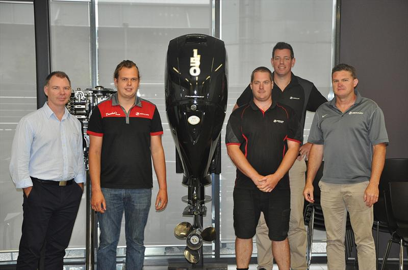 (l-r) Nicholas Webb, Snr Dir. of Engine Products, Aftersales & Marketing ANZP; Mercury Technicians Frazer Donehue (Donehue's Leisure) and Stephan Schmitter (Nautical Marine); Will Sangster, General Manager ANZP; and Scott Browne, Service Manager VIC/TAS. - photo © Mercury Marine