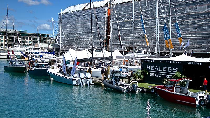 Not the greatest backdrop - Auckland On the Water Boat Show - Day 4 - September 30, 2018 - photo © Richard Gladwell