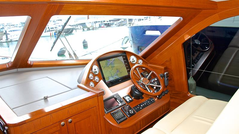 Helm position - Grand Banks / Palm Beach Motor Yachts - Auckland On the Water Boat Show - Day 4 - September 30, 2018 - photo © Richard Gladwell