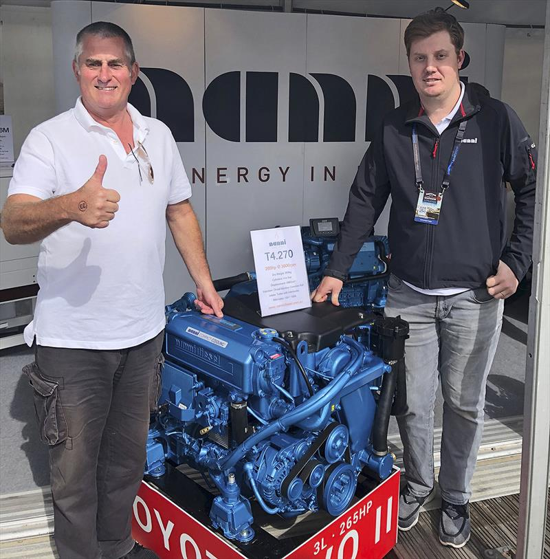 John Curnow and Chris Wood with the new Nanni 3.0l and 265hp Toyota based Diesel for semi-displacement and planing, fishing and pleasure craft - photo © Mainsheet Media