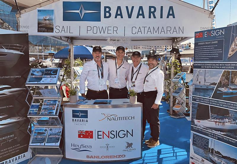 Sydney International Boat Show - Andy Howden Joint MD Ensign Yacht Group, Marian Scheer Sales Manager Bavaria, Michael Müller CEO Bavaria, and Sean Rush Joint MD Ensign Yacht Group.   - photo © Ensign Yacht Group