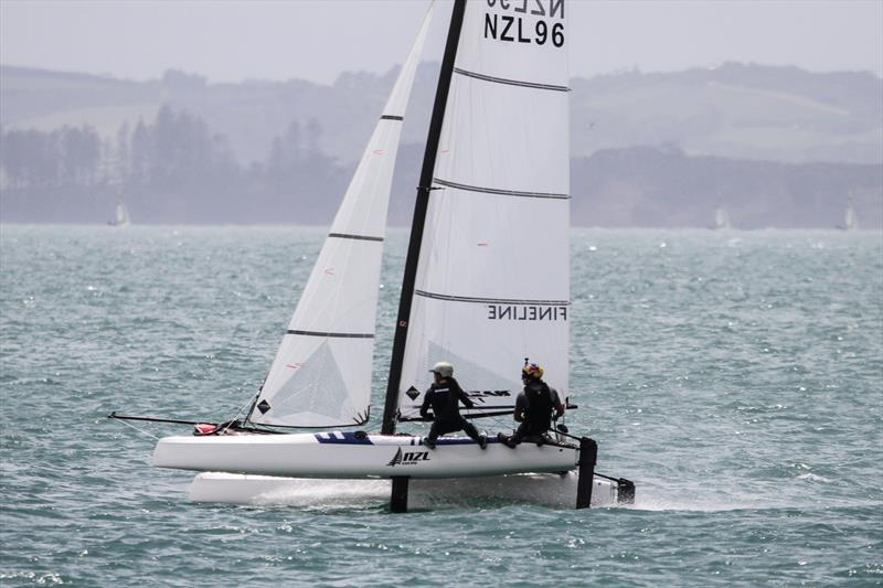 Erica Dawson and Micah Wilkinson on the Waitemata Harbour, November 20, 2019 photo copyright Richard Gladwell / Sail-World.com taken at Royal Akarana Yacht Club and featuring the Nacra 17 class