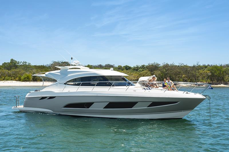Sleek styling and luxurious single-level living of the Riviera 4800 Sport Yacht. photo copyright Riviera Australia taken at  and featuring the Power boat class