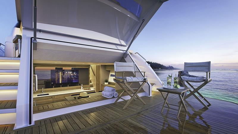 Maritimo X60 with aft space used as a beach club. - photo © Maritimo