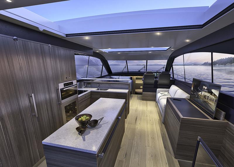 Main deck level of the Maritimo X60. - photo © Maritimo
