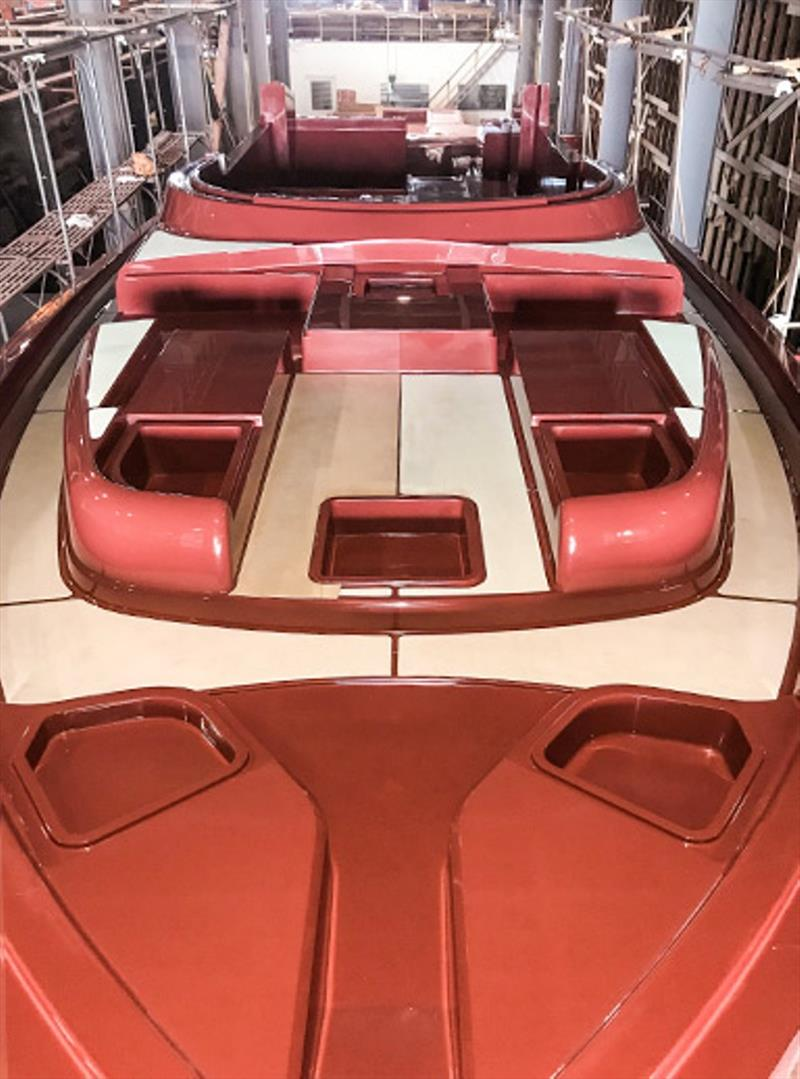The deck plug is completed. This complex shape accommodates all of the hatch lids, lockers, drains and style lines to create the desired design of the Belize 66. - photo © Riviera Australia