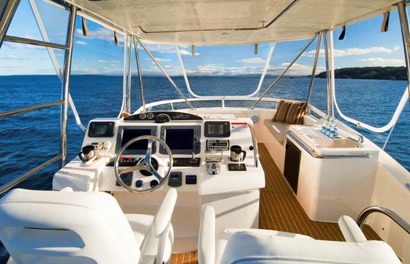The salon and galley merge seamlessly in the Riviera 45 Open Flybridge - photo © Riviera Australia