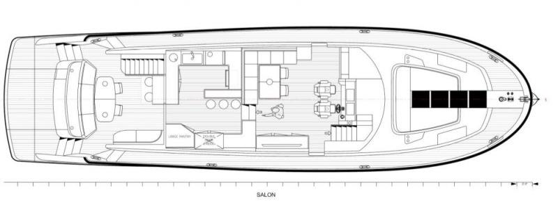 Interior Floor Plan photo copyright Clipper Motor Yachts taken at  and featuring the Power boat class