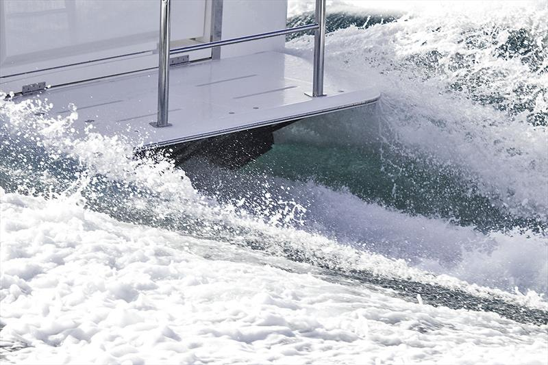 Interceptors at work on the outboard edges of the transom on Riviera's 395 SUV - photo © John Curnow