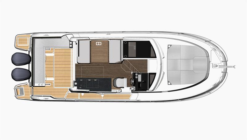 Deck level plan for the Merry Fisher 1095 - photo © Jeanneau