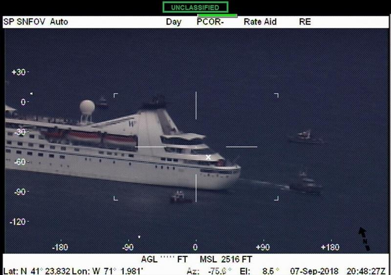 Close up footage of the cruise ship Star Pride in Buzzards Bay, Massachusetts Friday, Sept. 7, 2018, from Air Station Cape Cod's HC-144 Ocean Sentry. Local Coast Guard units and the Buzzards Bay Task Force responded to the ship after it became disabled. - photo © U.S. Coast Guard