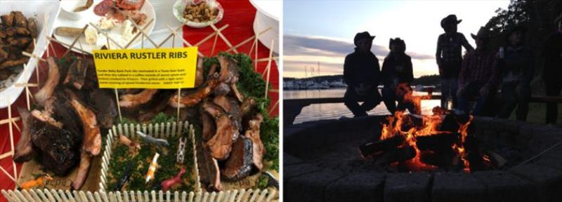 Left: The winning pot luck offering. Right: An open fire, a fine sunset and a chance to talk - photo © Riviera Australia