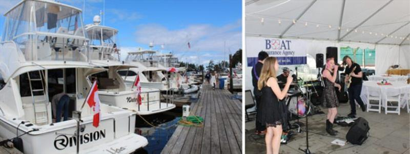Left: The dock was filled with Rivieras. Right: Everyone enjoyed the band. - photo © Riviera Australia