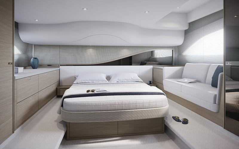 Princess Yachts F45 Flybridge - Interior owners stateroom photo copyright Princess Yachts taken at  and featuring the Power boat class