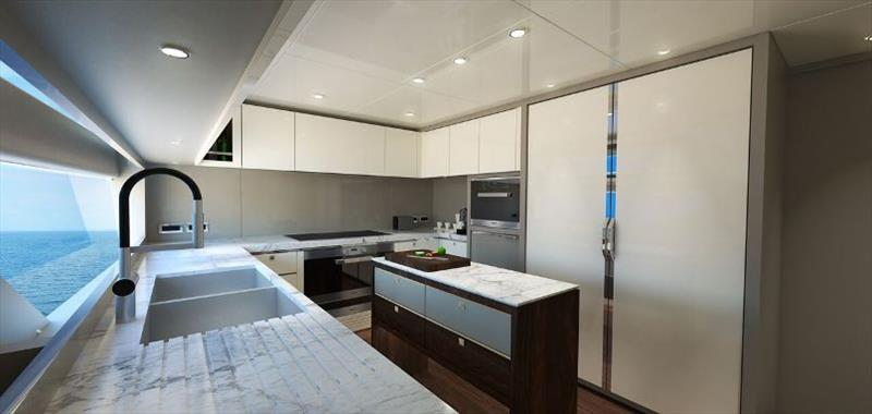 Johnson 115 Galley view - photo © Johnson Yachts