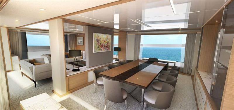 Johnson 115 Saloon and Dining view - photo © Johnson Yachts