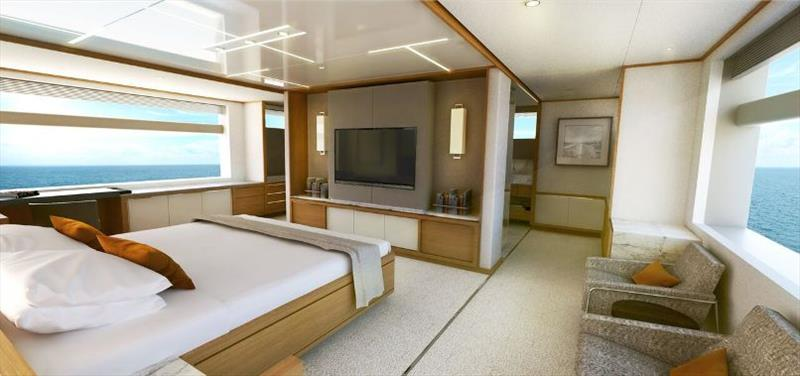 Johnson 115 Master cabin view - photo © Johnson Yachts