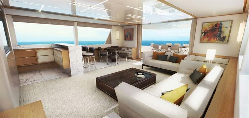 Johnson 115 Sky Lounge view - photo © Johnson Yachts