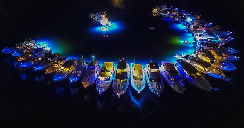 Lasers light up the night sky on the Gold Coast for R Marine Jones raft-up. - photo © Riviera Studio