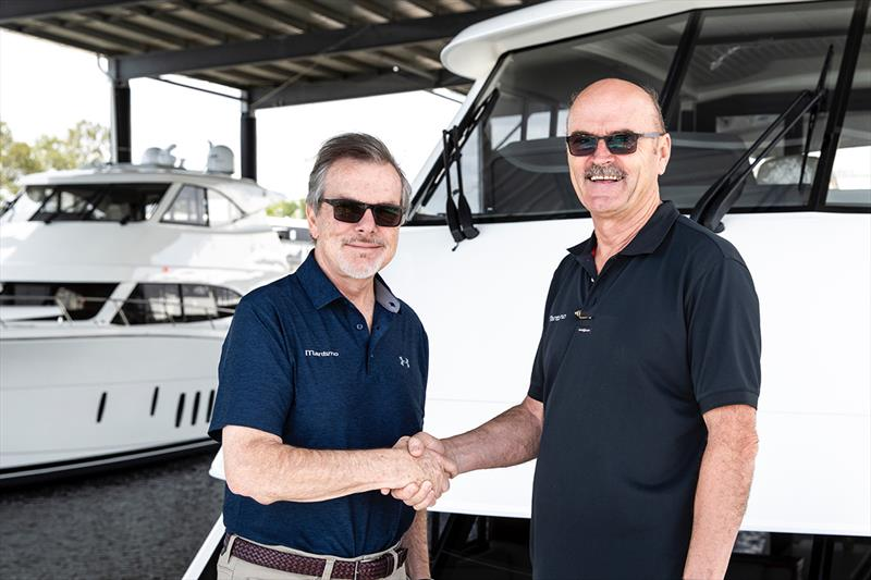 Maritimo Americas' president, Dave Northrop (left) with Maritimo's General Manager Operations, Phil Candler, on a recent visit to the Australian headquarters of the company photo copyright Darren Gill 2017 taken at  and featuring the Power boat class