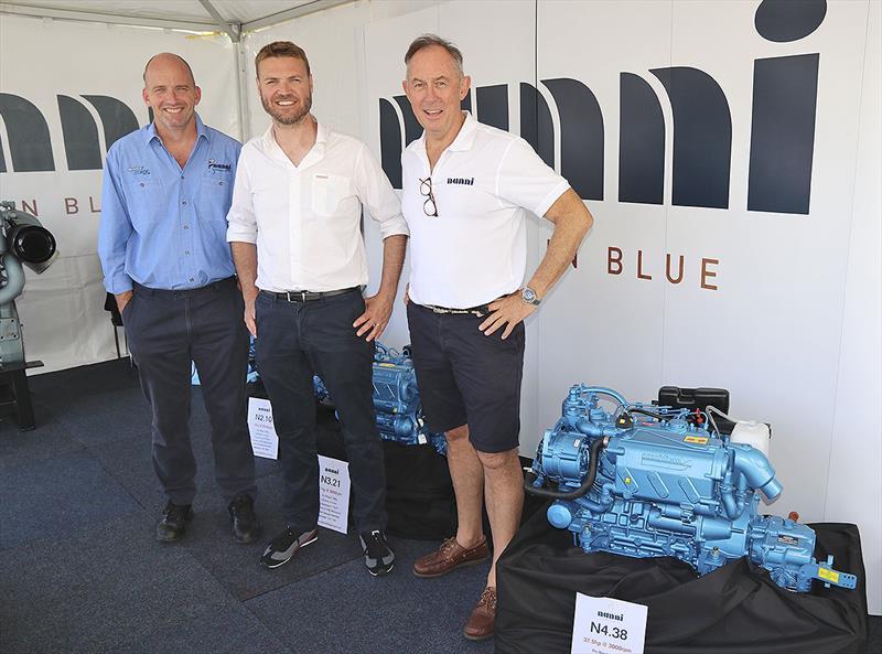 LtoR: Steve Shale - Marine Diesel, Django Fontaine - Nanni, Peter Collins - Nanni Diesel Australia - photo © John Curnow