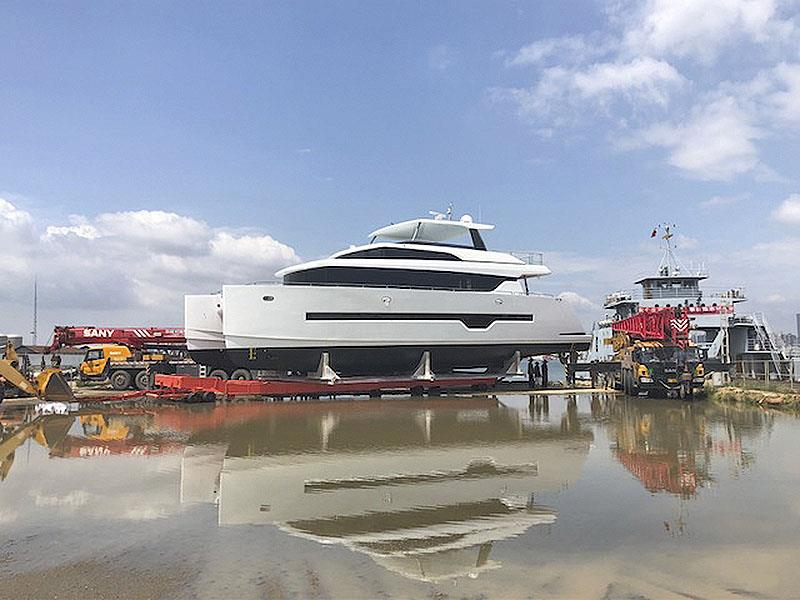 New Iliad 70 get splashed ahead of sea trials, and then unveiling to new owner and premiere at the Sydney International Boat Show - photo © Multihull Solutions