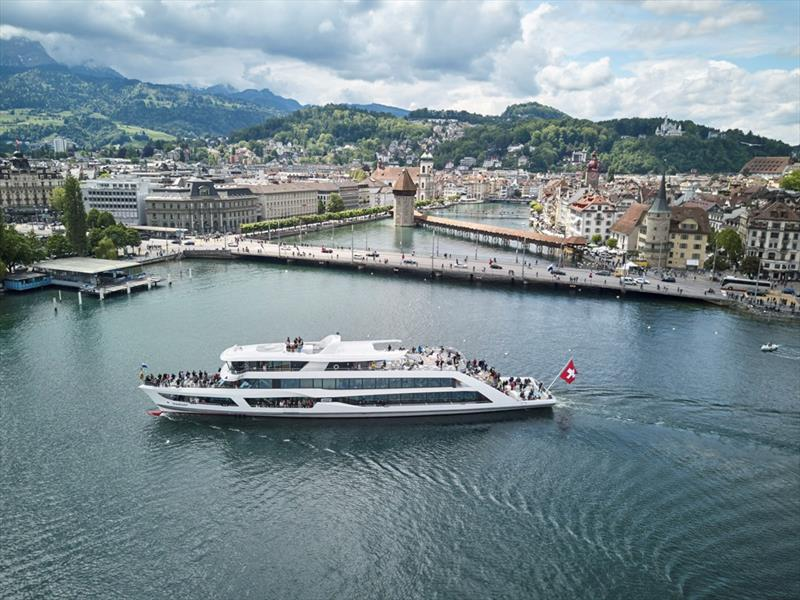 "Switzerland's first carbon neutral ship, the ""MS Diamant"", has been in operation on Lake Lucerne since 2017. Built by the Shiptec AG shipyard, the ferry is powered by two hybrid engines in conjunction with two ZF 3000 V transmissions. photo copyright Emanuel Ammon taken at  and featuring the Power boat class"