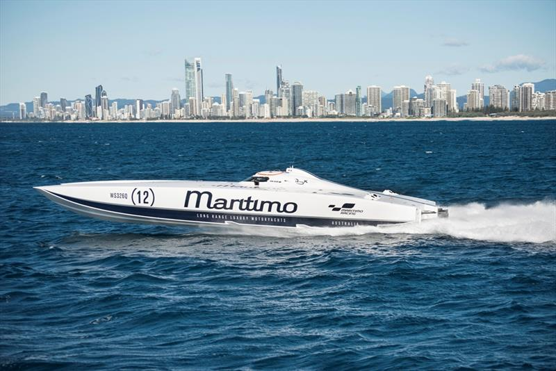 Chad experiencing the rush of off shore boat racing off Surfers Paradise. - photo © Maritimo