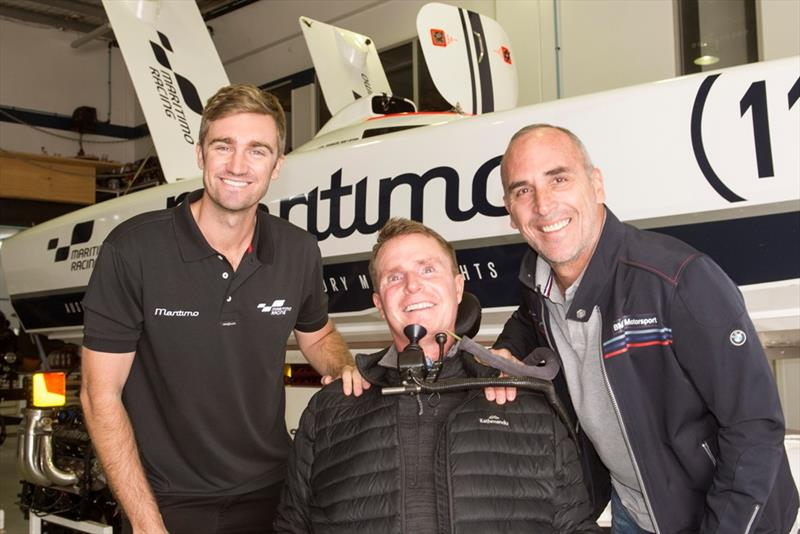 (L to R) Tom Barry-Cotter, Perry Cross and Chad Lemming at the Maritimo race team HQ before the run. photo copyright Maritimo taken at  and featuring the Power boat class