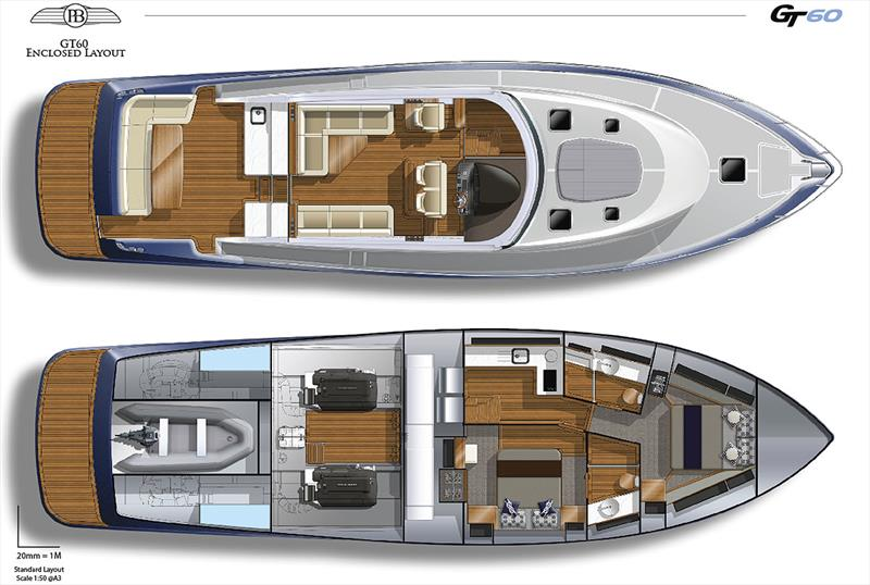 Layout for the soon to be released GT60 from Palm Beach photo copyright Grand Banks / Palm Beach taken at  and featuring the Power boat class