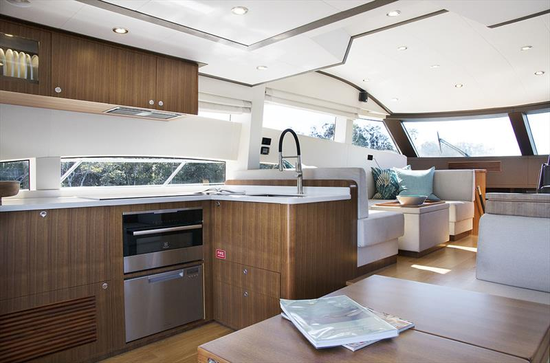 Galley and Main Saloon of the Longreef 60 SX - photo © Jennifer McKinnon