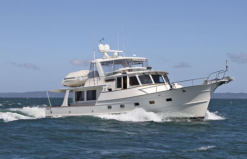A Fleming 55 Motor Yacht glides along on Moreton Bay off Brisbane - photo © John Curnow
