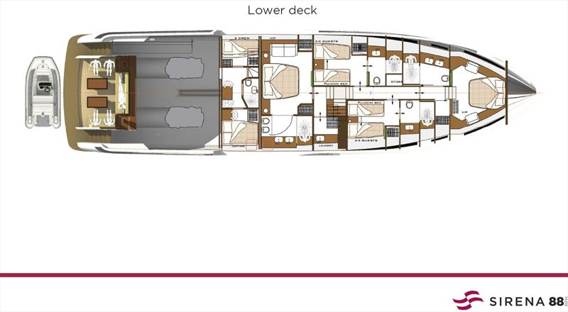 New Sirena 88 - Lower deck - photo © Sand People
