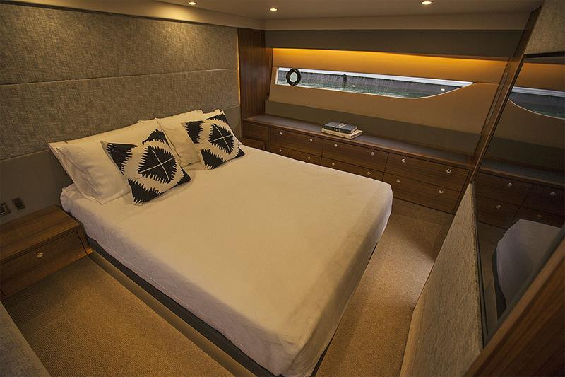 Full beam Master Stateroom amidships, with it's own head running up on the starboard side where the third cabin normally resides. - photo © John Curnow