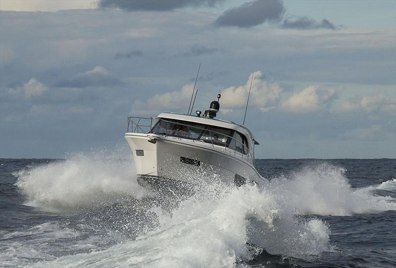The Riviera 445 SUV arriving in Sydney with the new Volvo Penta D6 IPS650s. - photo © John Curnow