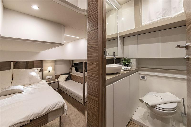 Greenline 45 Fly - Master Bedroom and Bathroom - photo © Greenline Yachts
