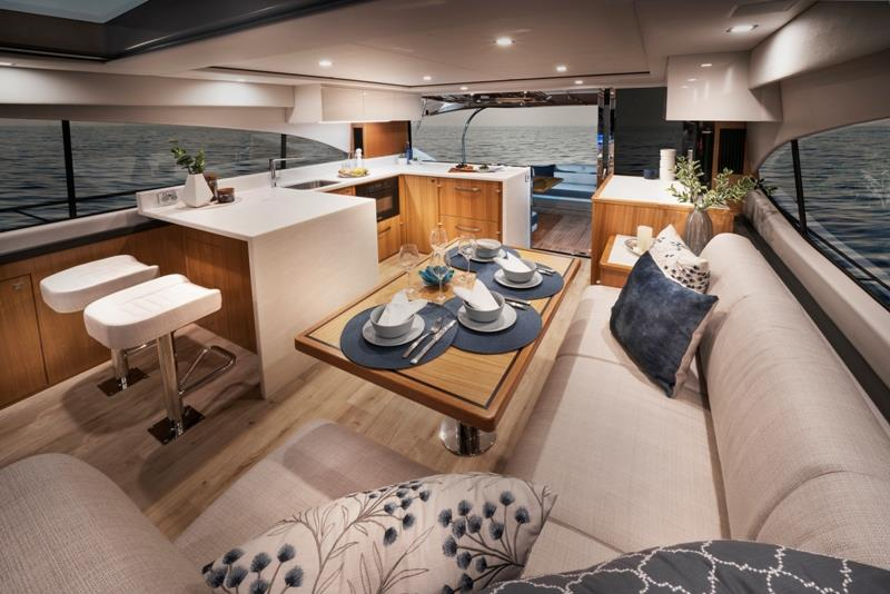 Riviera 5400 Sport Yacht Platinum Edition Saloon - photo © Riviera Australia