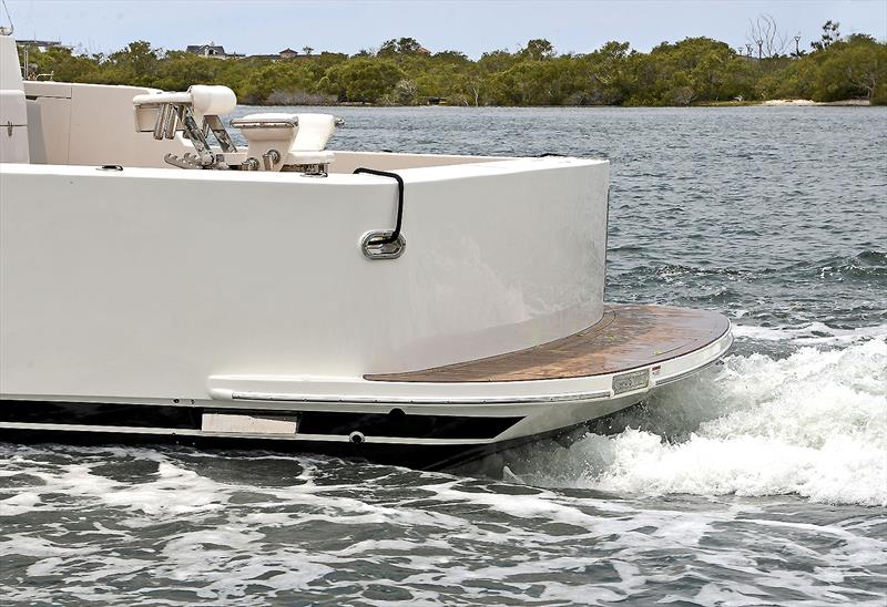 Maritimo One M72 sports a magnificent, wedge style transom below the fixed duckboard to ensure she rises up when backing down hard onto fish, and not push her transom under. Cool. - photo © Murray Waite