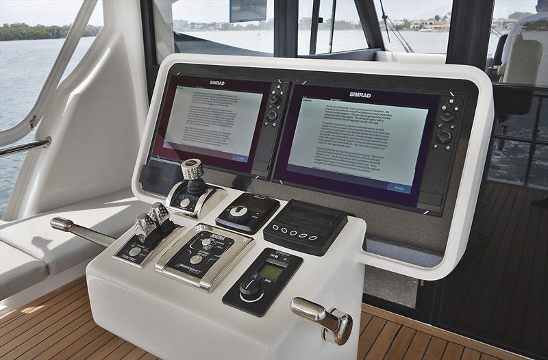 Every true Sportsfisherman needs a helm station overlooking the cockpit, and individual gear/throttle levers ensure you can stand facing aft and manoeuvre the Maritimo One M72 precisely to the catch. - photo © Murray Waite