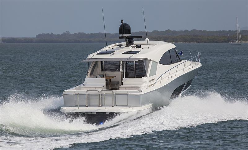 Very purposeful hull form rides superbly - Riviera 505 SUV World Premiere - photo © John Curnow