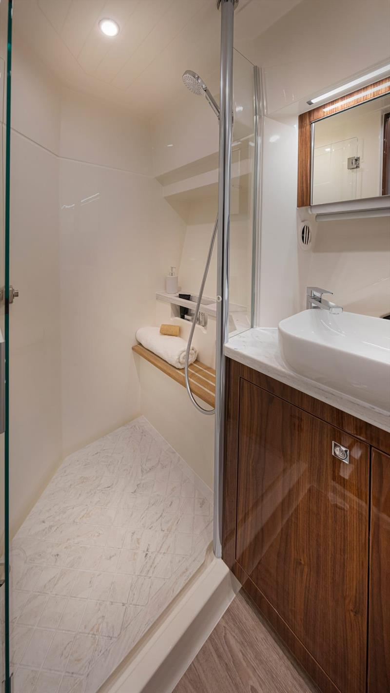 Shower in the Master En Suite - Riviera 505 SUV World Premiere - photo © Riviera Australia