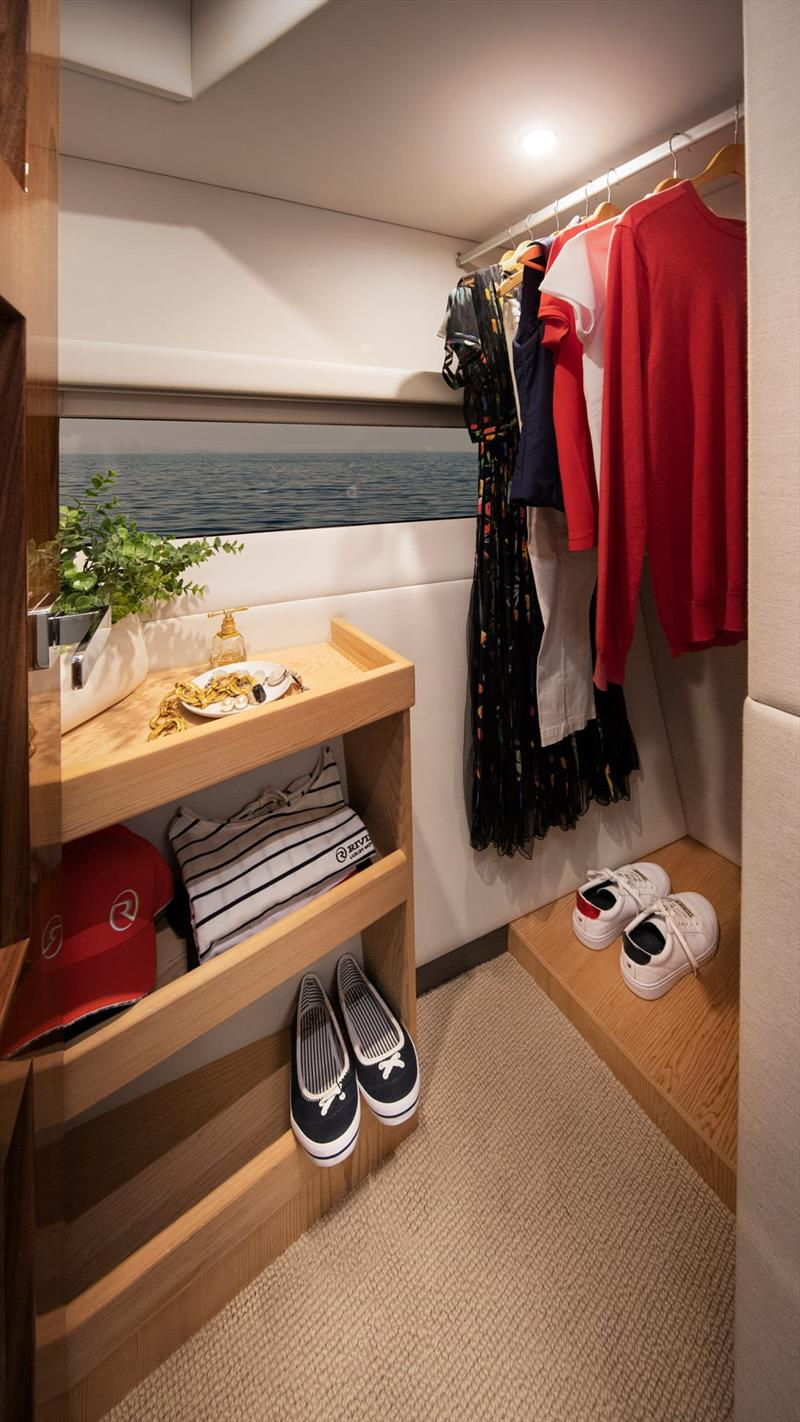 Full height hanging wardrobe (with a view) in the Master Stateroom - Riviera 505 SUV World Premiere - photo © Riviera Australia
