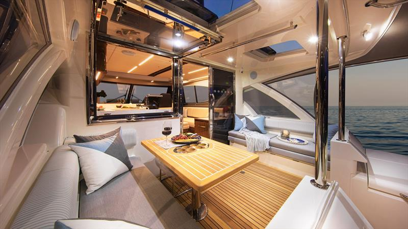 Get ready to party or relax on the mezzanine deck - Riviera 505 SUV World Premiere - photo © Riviera Australia