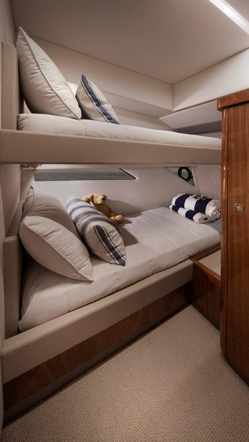 Spacious, light, and airy in the twin bunk third cabin - Riviera 505 SUV World Premiere - photo © Riviera Australia