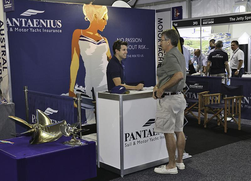 Pantaenius' Chris Tilley talking with a client at the Sanctuary Cove Boat Show - photo © John Curnow