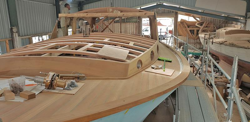 Work continues on Hull #2 of the Wooden Boat Shop's Deal Island 50 craft. - photo © Wooden Boat Shop